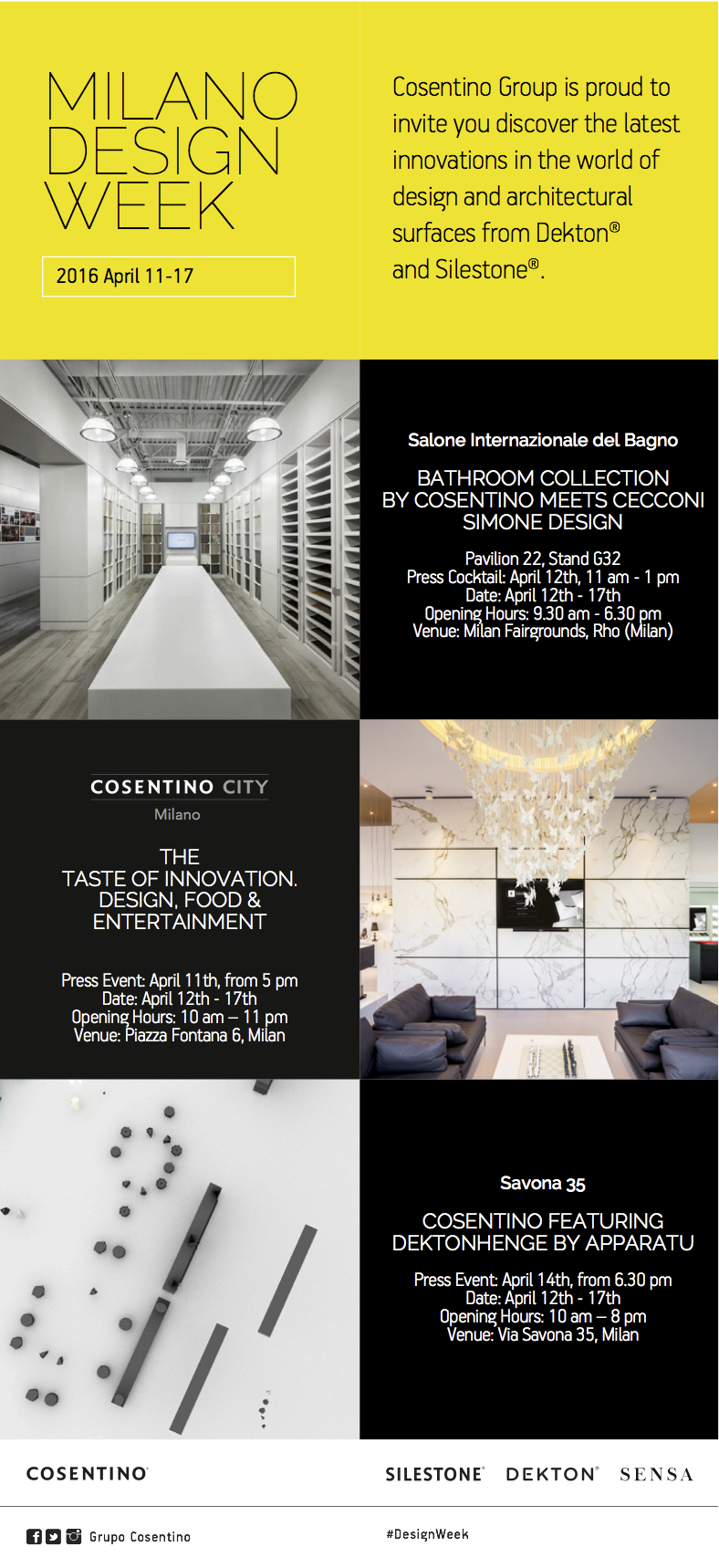 Einladung: Cosentino auf dem Salone del mobile.milano 2016