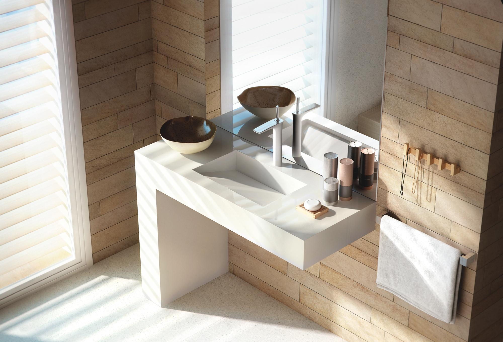 Fantastisch ... Det Muligt At Skabe Et Personligt Og Moderne Design Til Badeværelset.  Kollektionen Omfatter Både Håndvaske, Brusekar Og Badeværelsesmøbler I  Silestone, ...